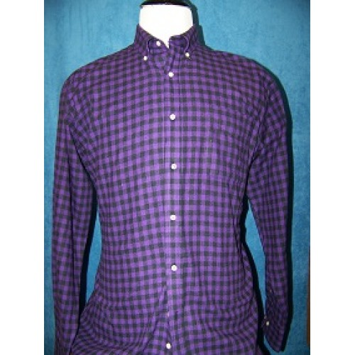 100 cotton purple black flannel long sleeve shirt for Athletic cut flannel shirts